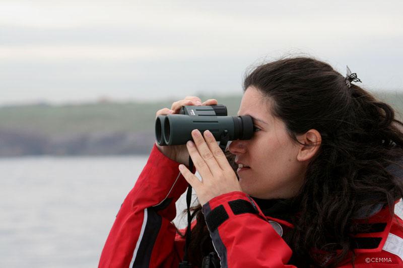 Un miembro de CEMMA realizando su turno de avistamiento ©CEMMA