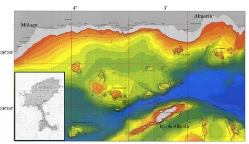 Mapa del mar de Alborán suponiendo el nivel del mar 100 metros por debajo del actual, tal como estaba en las épocas frías del Cuaternario. La plataforma de Alborán era entonces una isla tan grande como la actual Formentera (en el enmarcado, Ibiza y Formen