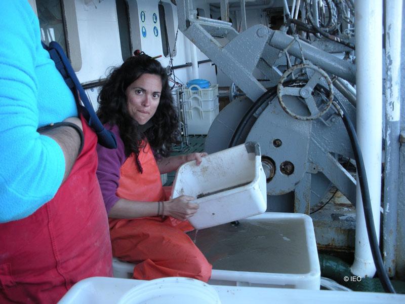 Alejandra Fernández entre tamices en la cubierta de trabajo ©IEO