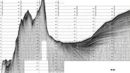 Perfil de TOPAS en el que se observa un montículo formado por la extrusión de un diapiro en cuya cumbre se aprecia un posible asentamiento de corales relacionado con enlosados carbonatados propios de un habitat 1180 © IEO