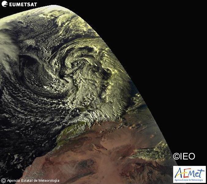 Imagen de AEMET con la situacion meteorologica en rango visible