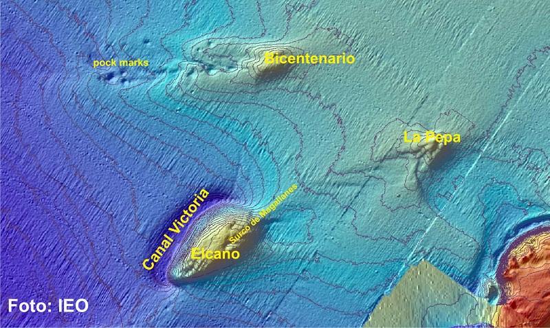 Relieves submarinos visitados con VOR APHIA 2012. Se emplazan en el contexto geológico de la Dorsal Diapírica de Guadalquivir ©IEO