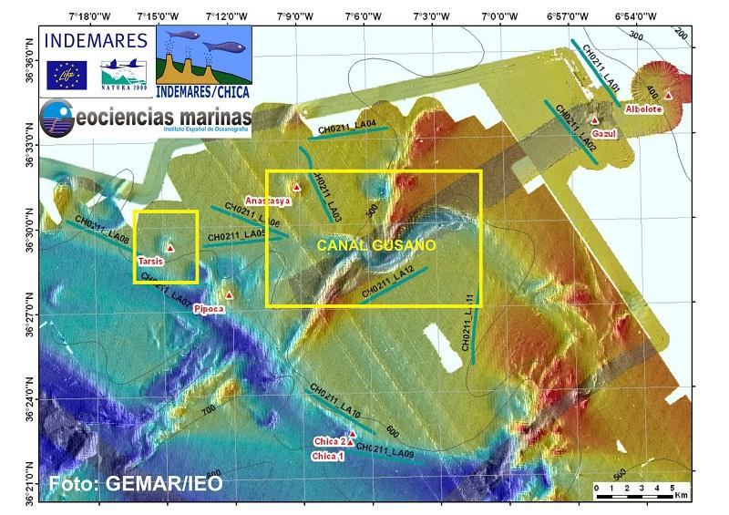 Esquema con la situación del Canal Gusano y los volcanes de fango que visitamos en el día de hoy. El fondo de la figura corresponde a la batimetría levantada con multihaz (las mayores profundidades en azul y las menores en tonos rojizos) ©GEMAR/IEO