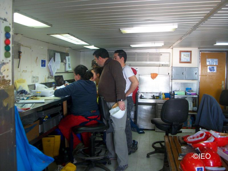 El Jefe de Campaña analiza con los investigadores las posiciones de los muestreos en el laboratorio humedo ©IEO