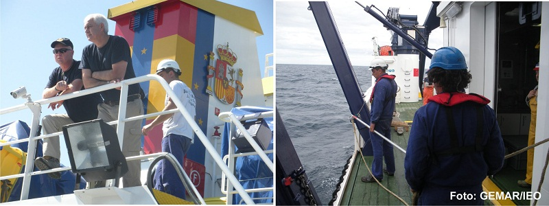 (Izquierda) Luis Gago y José Mª Abreu observan la maniobra de arriado del VOR APHIA 2012 desde la cubierta de popa del puente de gobierno. (Derecha) La tripulación aguarda a que la draga box corer alcance la cubierta de trabajo, a estribor, para recupera