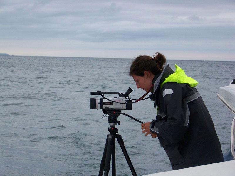 Grabando video para análisis del comportamiento de los cetáceos / Filming for the cetaceans behaviour analysis ©CEMMA