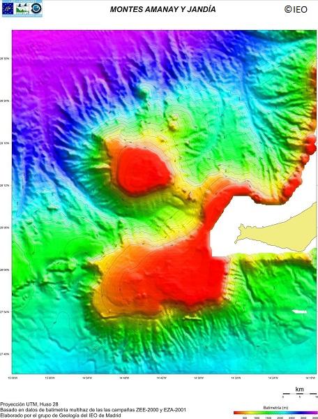 Modelo Digital del Terreno de la Zona A2.10 de INDEMARES: Área de Fuerteventura-Gran Canaria que incluye los bancos de Amanay y El Banquete ©IEO