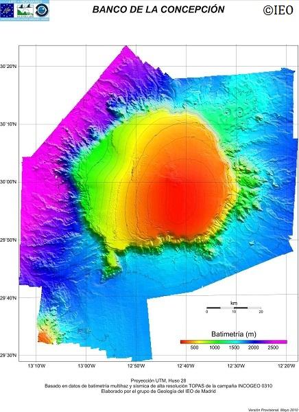 Modelo Digital del Terreno de la Zona A2.9 de INDEMARES: Banco de la Concepción