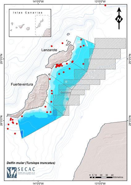 Mapa de avistamientos de mulares en Lanzarote ©SECAC