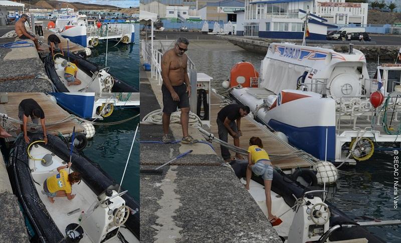 Limpieza general en un día de estancia en el puerto por temporal ©SECAC
