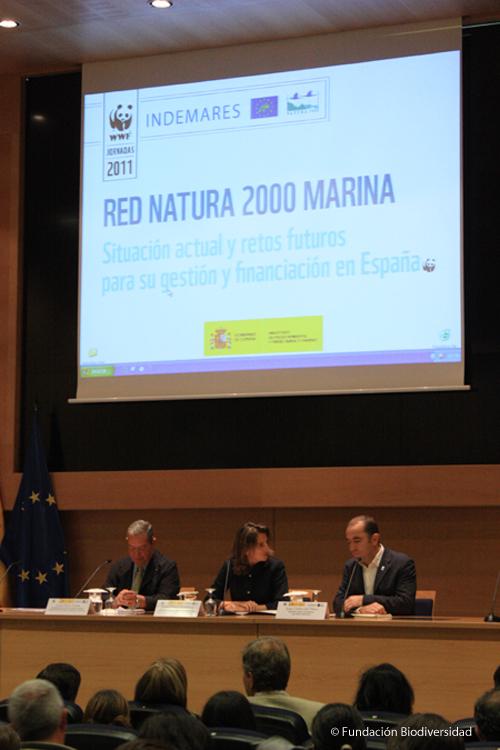 Inauguración Jornadas Red Natura 2000 marina. Teresa Ribera (centro), Javier Ruiz (izquierda) y Juan Carlos del Olmo (derecha) © Fundación Biodiversidad
