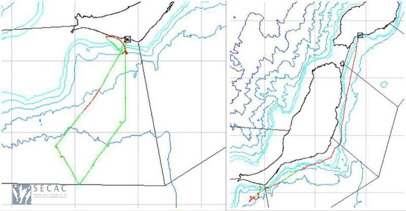 Mapas de los transectos realizados © SECAC