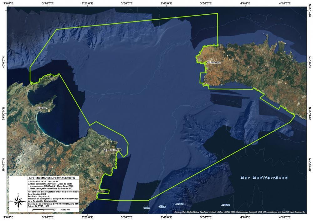 Mapa del Canal de Menorca