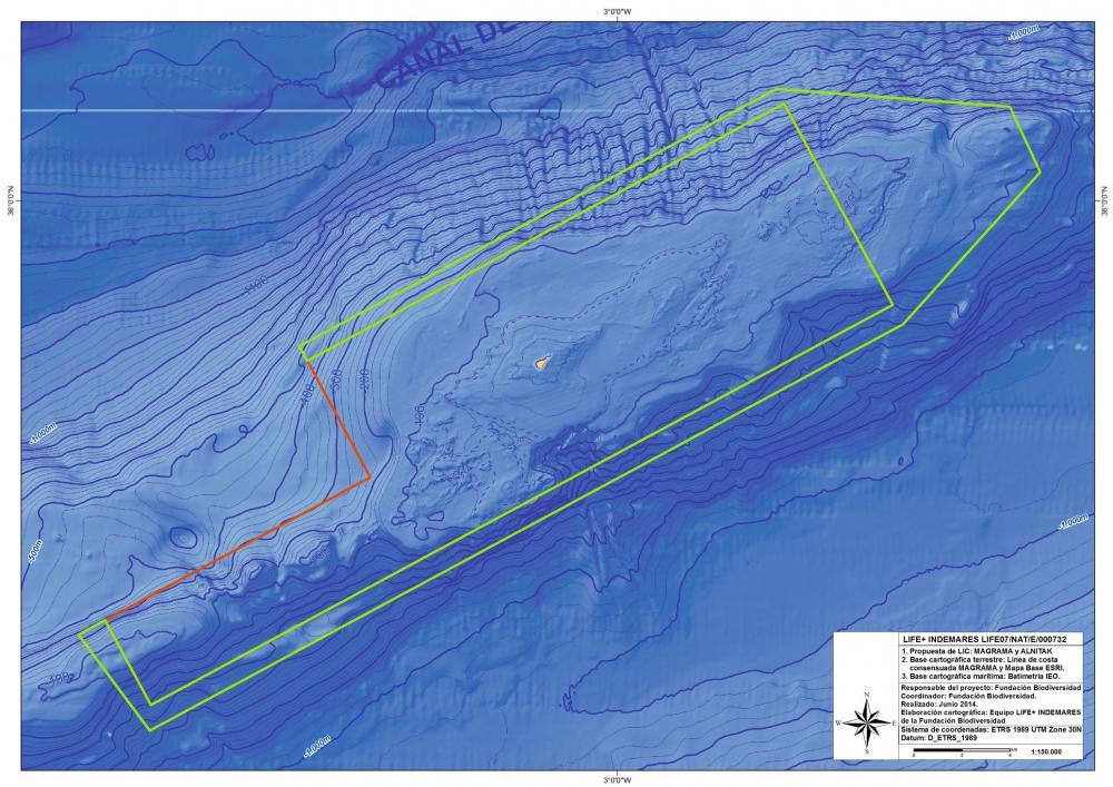 Mapa de la Isla de Alborán y conos volcánicos