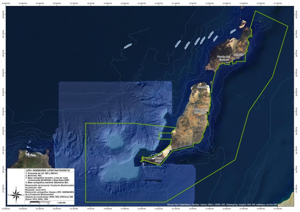 Mapa del Sur de Fuerteventura