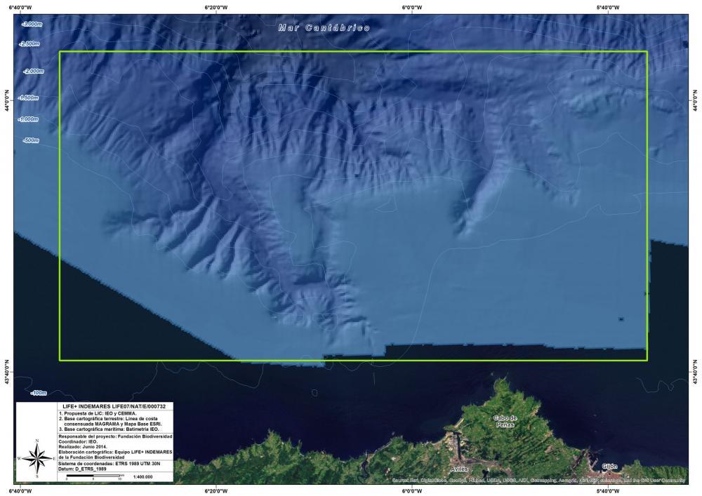 Delimitación LIC Sistema de cañones submarinos de Avilés