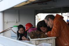 Enrique García Raso y Alejandra Fernández analizan las especies fijas a la superficie de una chimenea carbonatada ©IEO