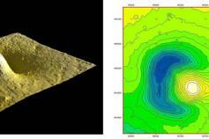 Imagen 3D del volcan de fango TARSIS junto a su batimetria ©IEO