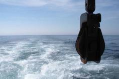 Terminando la jornada, navegamos a toda máquina rumbo a puerto. Todavía podemos contemplar el hermoso paisaje marinero que nos regala la luminosa mar gaditana ©IEO
