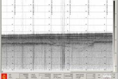 Captura de pantalla de la sonda TOPAS en la que se observan los diversos reflectores que se corresponden con las diversas unidades sedimentarias que constituyen el fondo marino ©IEO