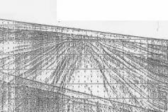 Perfil de Geopulse levantado perpendicularmente a lo largo de la plataforma continental frente a Chipiona. Es bien visible la deformación que genera el diapiro en la mitad del perfil ©IEO