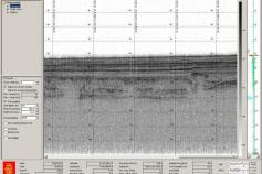 Captura de pantalla de la sonda paramétrica. Ofrece información de los depósitos sedimentarios en las capas superiores del fondo marino. Tiene gran resolución y ello nos permite inmergirnos en la interpretación de los episodios climáticos más recientes de