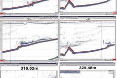 Composición de imágenes capturadas en la pantalla del ecosonda en el que podemos escrutar la morfología de la cumbre del diapiro y el posible volcán de fango Albolote ©IEO