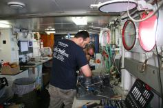 Working on board during the campaign ©ICM-CSIC