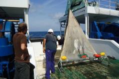 Lanzado del patín epibentónico por la popa del barco, donde se puede ver el tamaño que tiene la red que se usa. Campaña Agosto 2011 Canal de Menorca © IEO