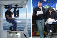 (Izquierda) Descansando sobre los depósitos de etanol y formol (fundamentales para la conservación de la fauna extraída del fondo marino) está permanentemente nuestro buen amigo Santi. Él dice que está pintando la pasteca y el casco, pero nosotros sabemos