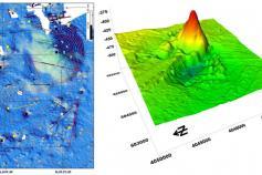 (Izquierda) Síntesis batimétrica basada en barridos con sonda multihaz, en la que se pueden observar los diversos rasgos geomorfológicos que caracterizan el campo circundante al Volcán de Fango Gazúl. (Derecha) Modelo digital de terreno 3D del volcán de f