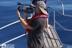 Gorka Leclercq grabando un avistamiento para el documental INDEMARES el 23-10-2011 © SECAC